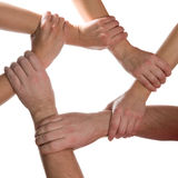 6 hands connected. Isolated on white background Royalty Free Stock Photo