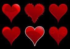 6 harten die op een zwarte backgound worden geplaatst Stock Foto's