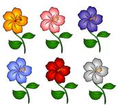6 Hawaii Hibiscus Flowers. An illustration of 6 individually colored hawaiian hibiscus flowers in gold orange, pink, blue, purple, red and white Stock Photo