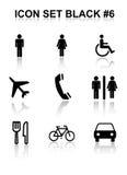 6 ikona czarny set Obrazy Royalty Free