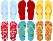 6 inställda färgrika sandals vektor illustrationer