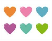 6 inställda hjärtasymboler vektor illustrationer