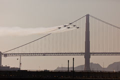 6 jets over Golden Gate Bridge in Fleet Week stock photography