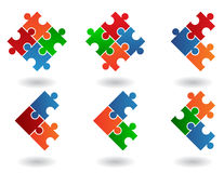 6 Jigsaw icons. 6 Jigsaw puzzle icons isolated on a white background Stock Photography