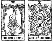 6 kort skisserar tarot två v royaltyfri illustrationer