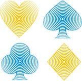 6 kortdräkter vektor illustrationer