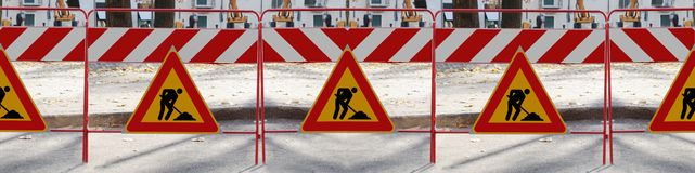 6 man at work Road signs. 6 man at work signs, you can easly create banner how long you need royalty free stock images