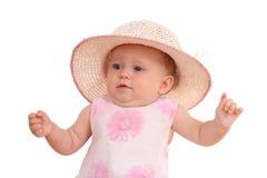 6 meses de bebé no chapéu Imagens de Stock Royalty Free