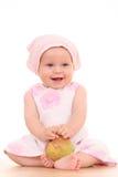 6 meses de bebé y manzana fotografía de archivo
