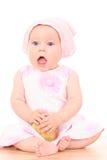 6 meses de bebê e maçã Imagem de Stock