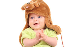 6 mesi di neonata in cappello Fotografie Stock