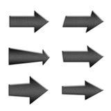 6 metal arrow symbol buttons Royalty Free Stock Photos