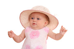 6 months baby girl in hat Royalty Free Stock Images