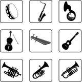 6 musikaliska instrument Arkivbild