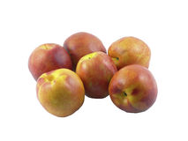 6 nectarines d'isolement sur le fond blanc Photographie stock