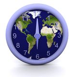 6 oclock. 3d rendered clock showing the time with earth background Stock Photography