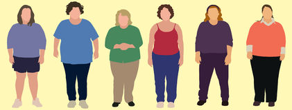 6 Overweight women. Six fat women in middle age vector illustration