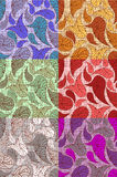 6 paisley backgrounds. 6  seamless paisley backgrounds in different colors Stock Images