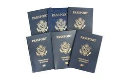 6 passaporti degli S.U.A. Fotografia Stock Libera da Diritti