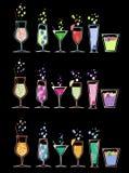 6 per 3 cocktail degli insiemi Immagine Stock