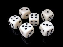 6 Pieces of Black and White Dice Stock Images