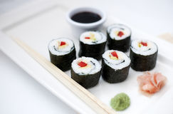 6 pieces sushi on the palte Royalty Free Stock Images