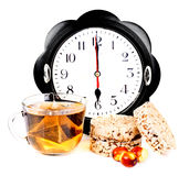 6 pm tea and diet snacks. Hours at 6 pm tea and diet snacks Royalty Free Stock Images