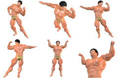 6 For The Price of 1! Body Builder 3D (with clipping paths) Stock Photos