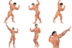 6 For The Price of 1! Body Builder 3D (with clipping paths) Royalty Free Stock Photos