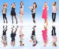 6 ragazze riflesse Fotografia Stock