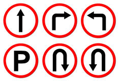 6 red circle traffic sign Royalty Free Stock Photos