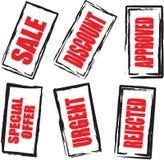 6 red sale stamp up Στοκ εικόνες με δικαίωμα ελεύθερης χρήσης