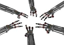 6 Robotic Hands Royalty Free Stock Photography