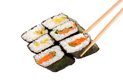 6 rolls of sushi. With chopsticks isolated on a white background Royalty Free Stock Photo