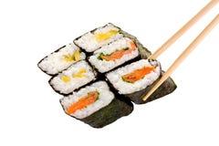 6 rouleaux de sushi Photo libre de droits