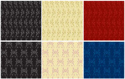 6 seamless  backgrounds. 6 victorian seamless retro backgrounds Stock Photography
