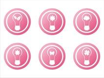 6 set tecken för ecolampa Fotografering för Bildbyråer