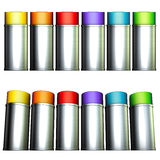 6 spray can in rainbow color Stock Photos