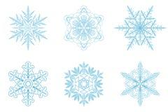 6 stycken ställde in snowflakes Arkivfoton