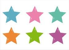 6 symboler ställde in stjärnor Arkivbild