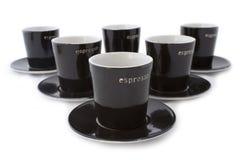 6 tazze del caffè espresso Immagine Stock