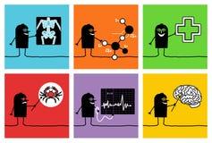 6 teckendoktorsforskare Arkivbild