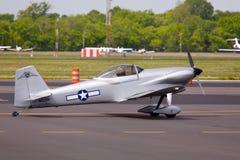 AT-6 Texan aircraft on runway. Royalty Free Stock Image