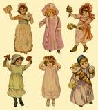 6 uitstekende document poppen Royalty-vrije Stock Afbeeldingen