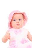 6 van het babymaanden meisje in hoed Stock Fotografie