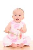 6 van het babymaanden meisje met bloem Royalty-vrije Stock Foto