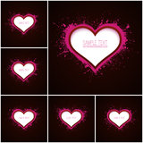 6 vector abstract backgrounds. Set of 6 vector abstract backgrounds with hearts. Paper heart. Valentines Day background. Paper background. Retro background Stock Images