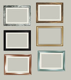 6 vector frames. Set of 6 photograph frames isolated on neutral background in vector format Stock Images
