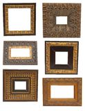 6 vintage wood picture frames Stock Photo