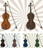 6 violins. Illustration with six violins on different backgrounds Royalty Free Stock Images
